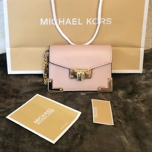 NWT Michael Kors Kinsley Blossom Pink Card Wallet
